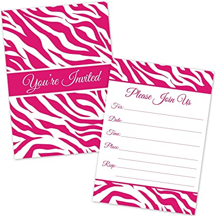 Hot Pink Zebra Stripes Party Invitations For Girls