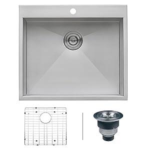 """Ruvati RVH8010 Overmount 16 Gauge 25"""" Kitchen Sink Single Bowl, Stainless Steel"""