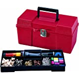 Stack-On GMR-13 13-Inch Multi-Purpose Handy Storage Box with Tote Tray, Red