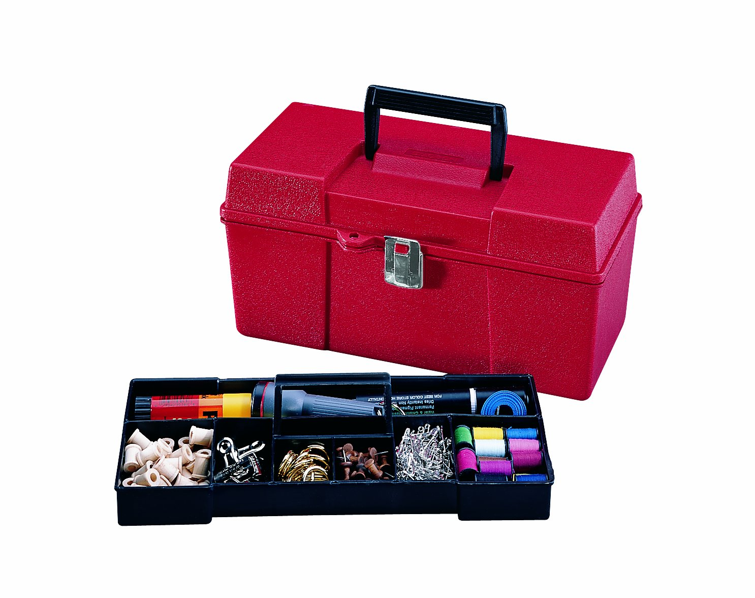 Stack-On GMR-13 13-Inch Multi-Purpose Handy Storage Box with Tote Tray, Red by Stack-On