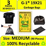 G 1 Garbage Bags - 19X21 | 3 Packs of 30 Pcs - 90 Pcs | Black Medium Disposable Dustbin Bags