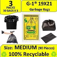 G 1 Garbage Bags - 19X21 | 3 Packs of 30 Pcs - 90 Pcs | Black Medium Disposable Dustbin Bags