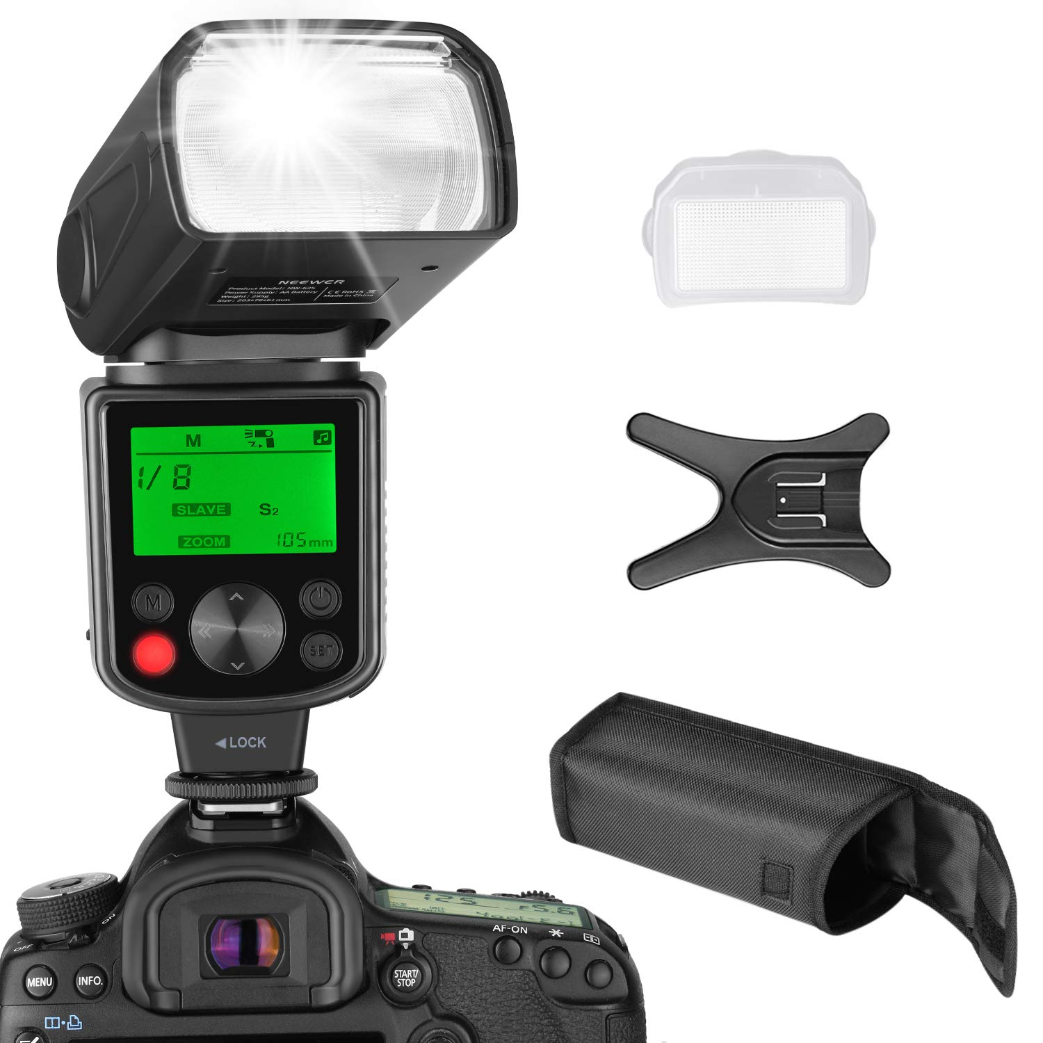 Neewer NW625 GN54 Speedlite Flash for Canon Nikon Panasonic Olympus Pentax Fijifilm DSLRs and Mirrorless Cameras and Sony with Mi Hot Shoe Like a9 a7 a7II a7III a7R III a7RII a7SII a6000 a6300 a6500 by Neewer