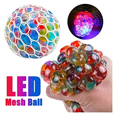 New Led Anti Stress Ball - Squishy Light up Ball Anti-Stress Toys for Kids - Mesh Stress Ball - Grape Ball - DNA Ball - Prime Slime Stress-Ball - ADHD Fidget Toys - Net Stress Squishy Ball (Rainbow): Toys & Games
