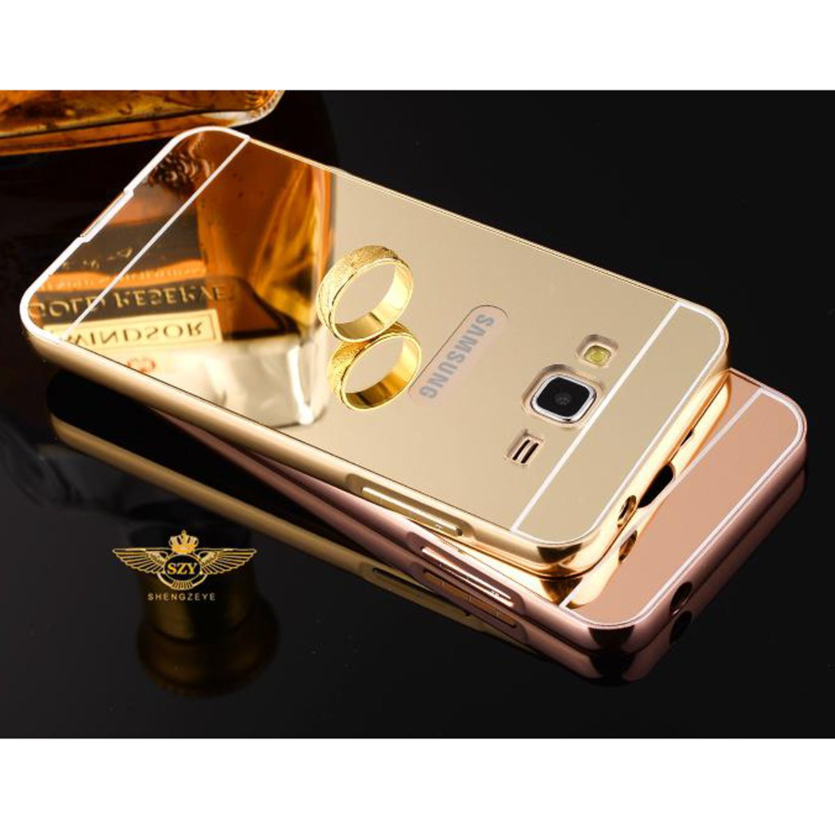 For Samsung Galaxy j3 pro/ j3110 / j3119 / SM-J3110 2016 Phone Mirror Case  Metal Bumper+Acrylic Back Cover Shell Sleeve Pouch Bag (Rose gold)