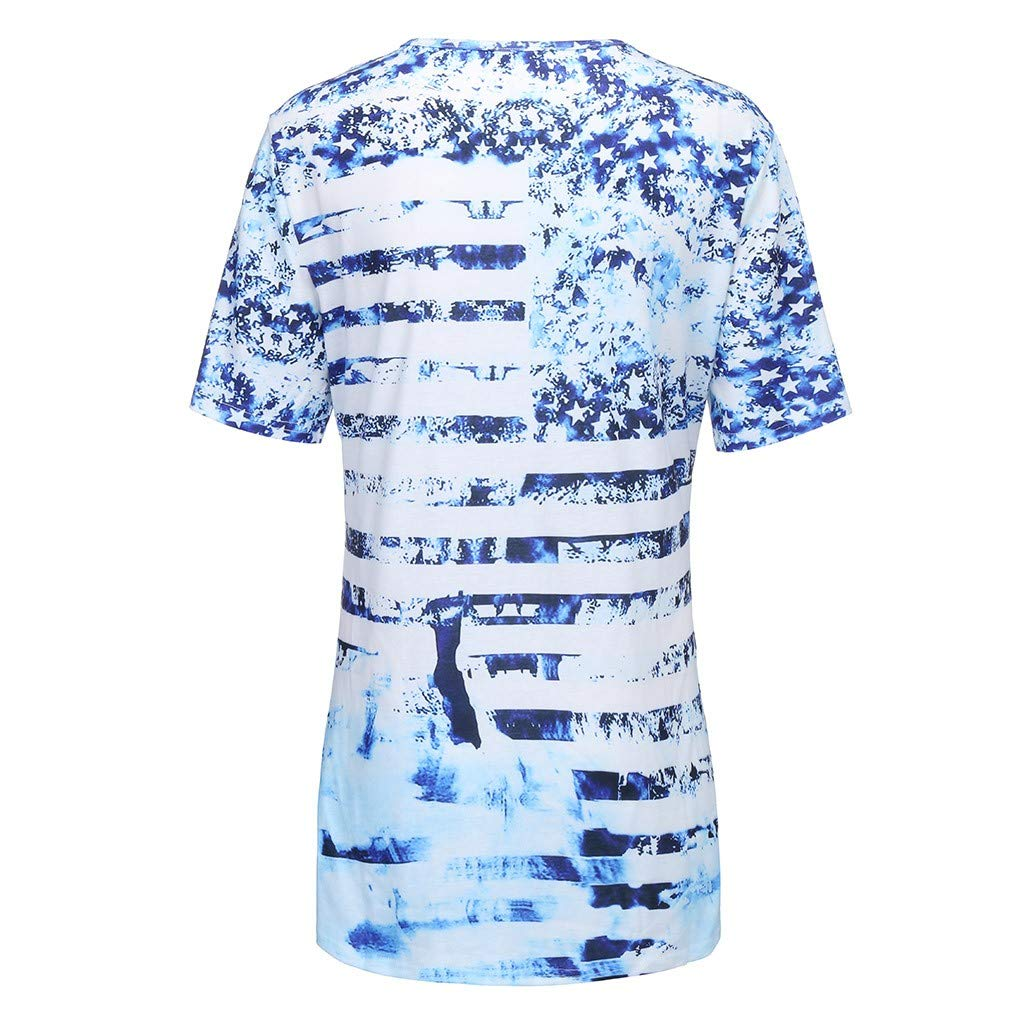 cc2cc9d134a Amazon.com  Fiaya 4th of July Women Clothes Blouse Plus Size Short Sleeve  American Flag Loose T-Shirt Tank Top (Blue A01