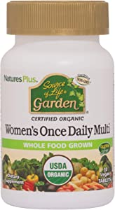 NaturesPlus Source of Life Garden Certified Organic Women's Once Daily Multivitamin - 30 Vegan Tablets - Pure, Natural Whole Food Ingredients - Energy Boost - Vegetarian, Gluten-Free - 30 Servings