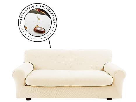 Banzaii Funda Sofa Elastica con Funda Asiento Impermeable – Cubre Sofa con Cojin – Protector Sofa con Asiento Separado - Poliéster (VR.12 Crema, Sofá ...
