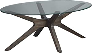 Signature Design by Ashley - Zannory Cocktail Table w/ Glass Top, Brown