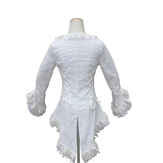 0ad8aef2812 Amazon.com  Shaper Corset Victorian Gothic White Women Blouse Top Bodice Lace  Theatre  Clothing