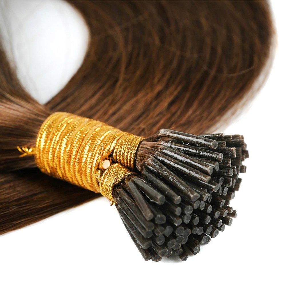 Extension Capelli Veri Biondi con Cheratina 100 Ciocche Estensioni I Tip 50cm #60 Biondo Platino - 100% Remy Human Hair Keratina Lunghi Lisci 50g Elailite