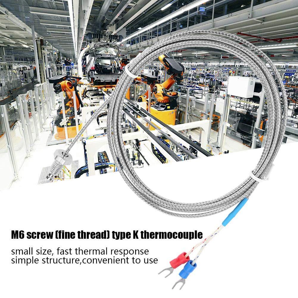 Thermocouple-Keenso M6 Screw Fine Thread Type K Thermocouple Temperature Sensor Wire 0-400℃ 4m