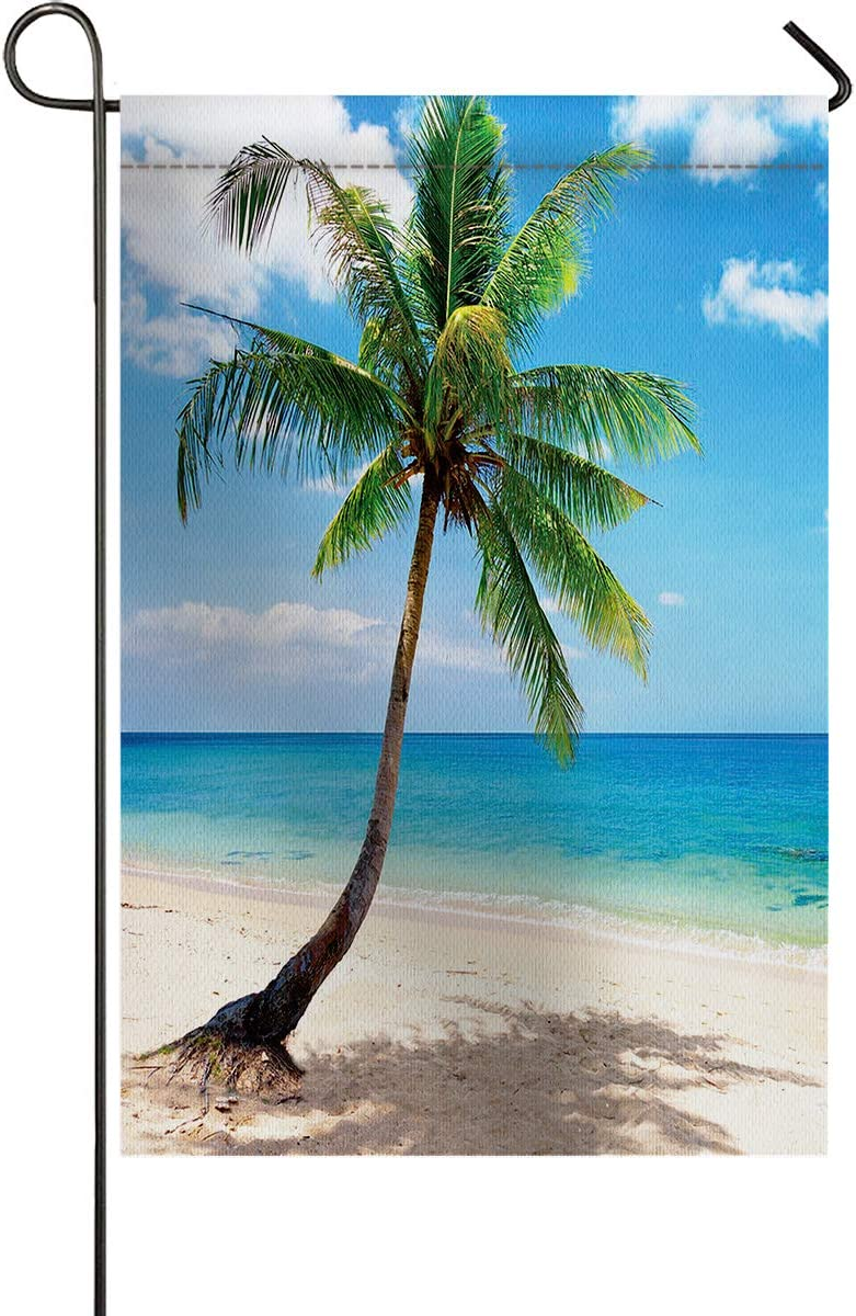 Small Premium Garden Flag Coconut Palm Tree Sandy Ocean Hawaii Beach Garden Flags Burlap Yard Outdoor Decor - Weather Resistant & Double Stitched - 12 x 18 Inch
