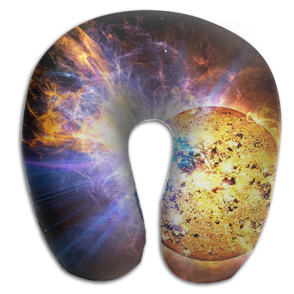 Laurel Neck Pillow Psychedelic Solar Sun Fire Travel U-Shaped Pillow Soft Memory Neck Support For Train Airplane Sleeping