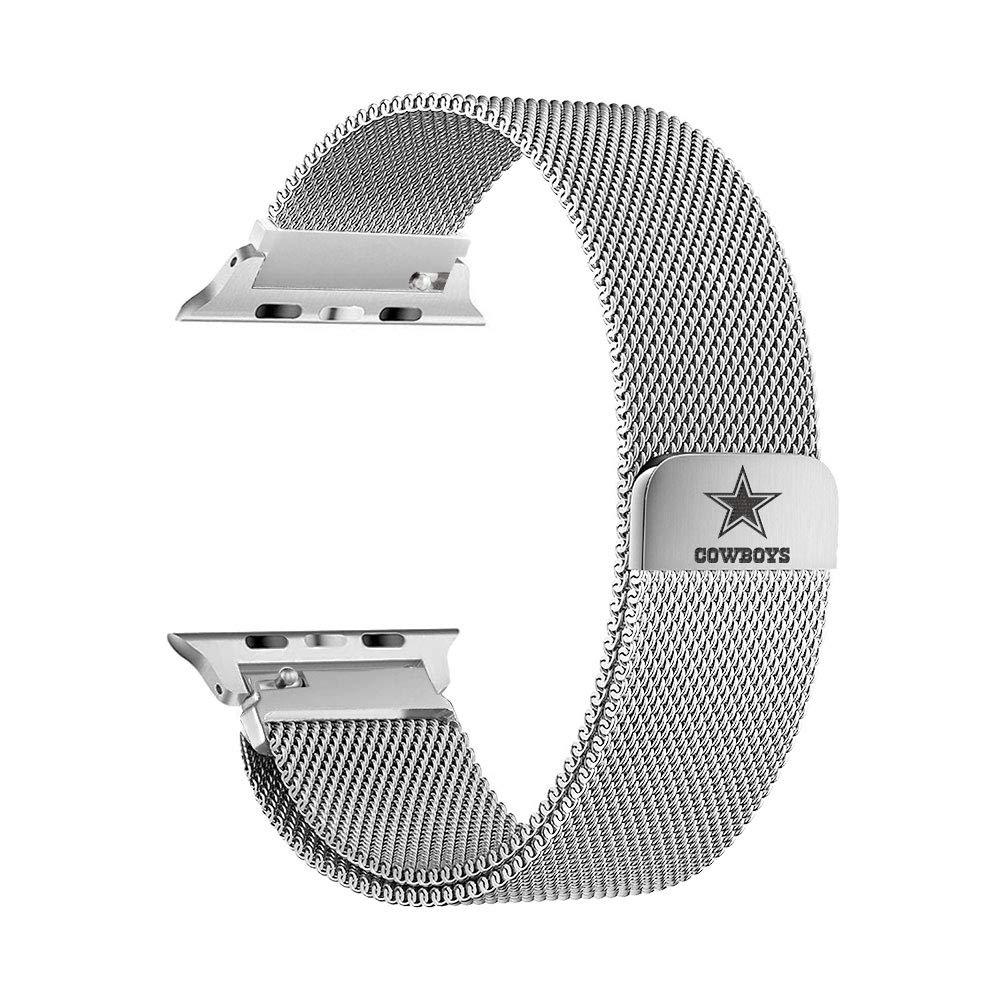 Game Time Dallas Cowboys Stainless Steel Mesh Band Compatible with Apple Watch - 42mm/44mm by Game Time