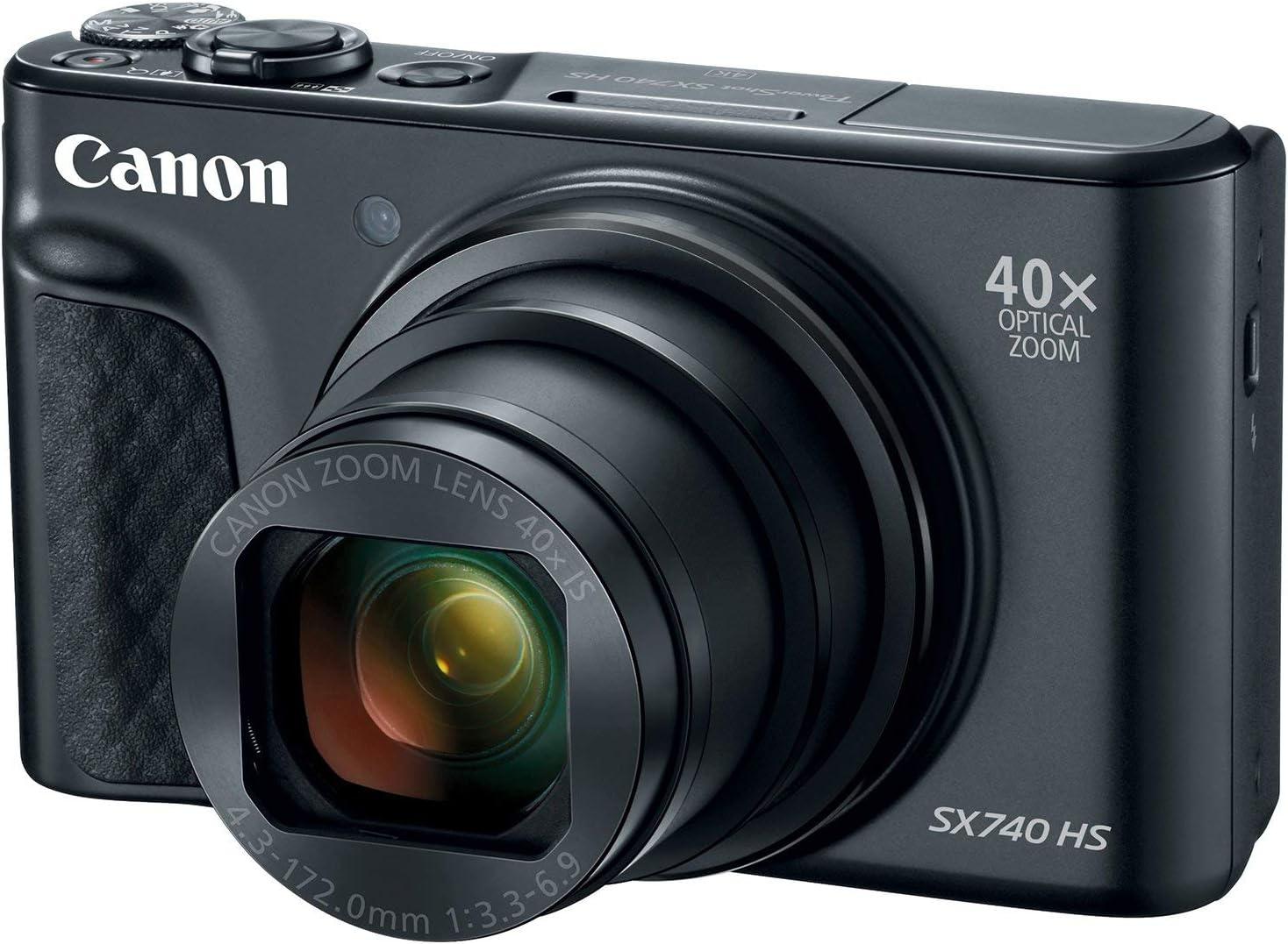 Canon PowerShot SX740 Digital Camera w/40x Optical Zoom & 3 Inch Tilt LCD - 4K VIdeo, Wi-Fi, NFC, Bluetooth Enabled (Black) (Renewed)