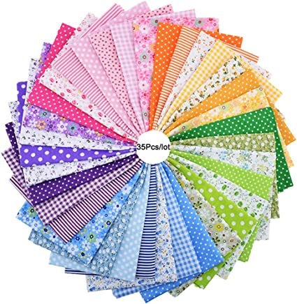 Mixed Squares Bundle Sewing Quilting Craft Sewing Square Fabric Scraps for DIY Sewing Quilting Dot Stripe Konsait 50 Pieces 9.8 x 9.8 Inch Random Multi-Color Fabric Patchwork Cotton