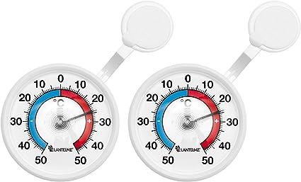 Lantelme 2 Stück Fensterthermometer Set Selbstklebend Deutsche Herstellung Außen Analog Fenster Klebe Thermometer 4081 Küche Haushalt