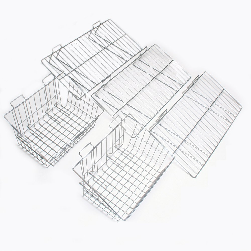 Proslat 11003 Garage Organizer Value Pack with 3 Shelves and 2 Steel Baskets, Designed for Proslat PVC Slatwall by Proslat