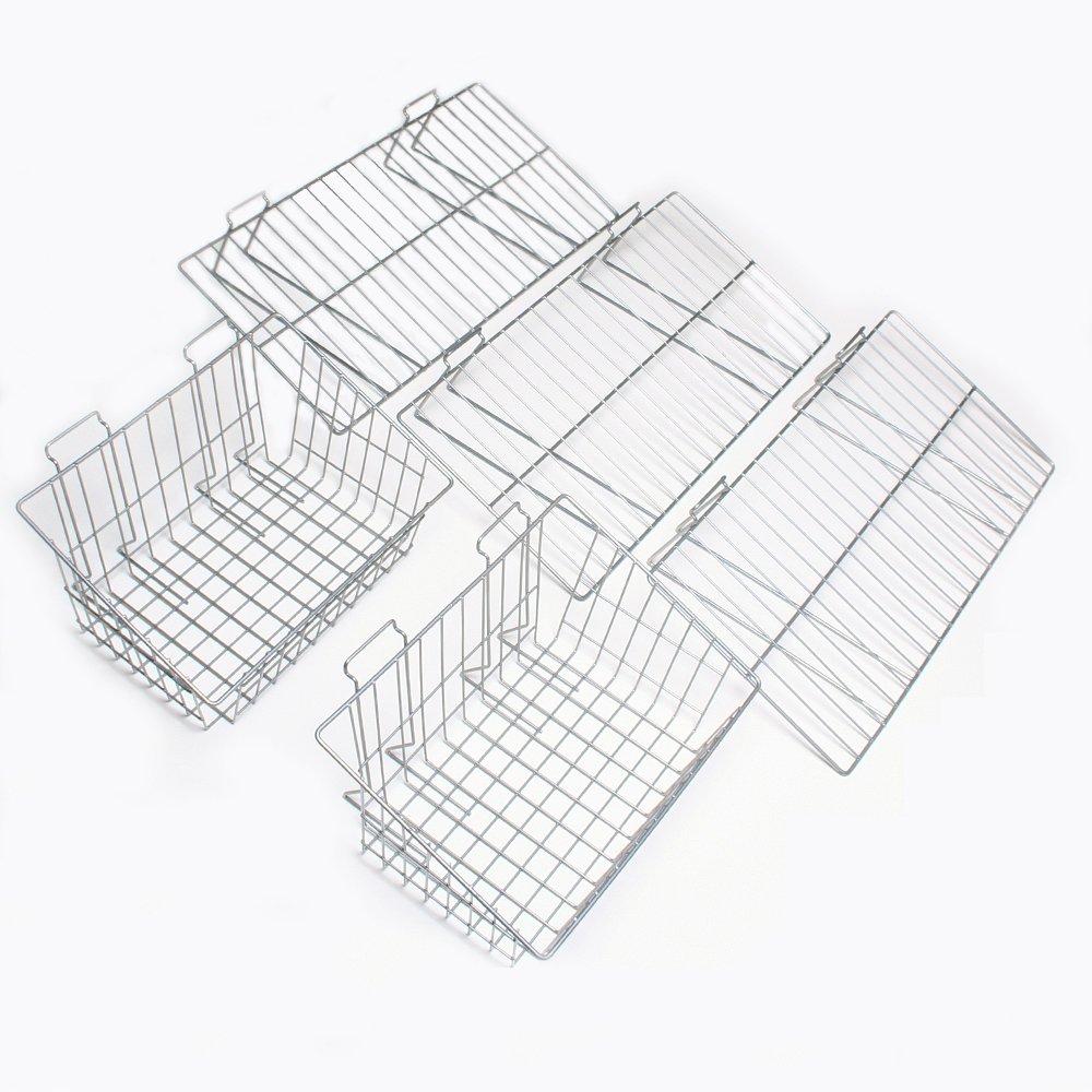 Proslat 11003 Garage Organizer Value Pack with 3 Shelves and 2 Steel Baskets, Designed for Proslat PVC Slatwall