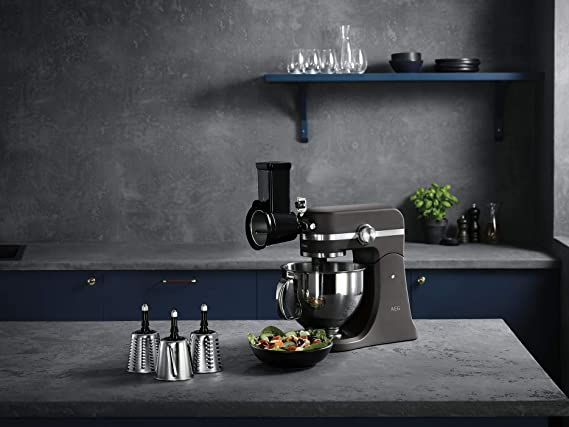 AEG AUM cortar y rallar, compatible con el robot de cocina UltraMix, grueso, 1 rebanador rallador fino, 1 accesorio para empujar, Metal, De plástico, Negro y plateado: Amazon.es: Hogar