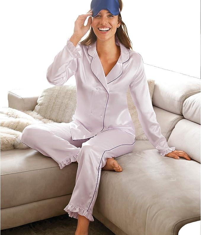 Pijama Camisa Cruzada Delante con Doble Fila de Botones Mujer - 031074, Malva, 3XL: Amazon.es: Ropa y accesorios