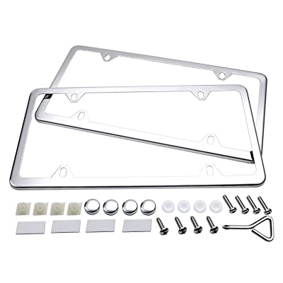 Ohuhu License Plate Frames, 2 Pcs 4 Holes Slim Stainless Steel Polish Mirror License Plate Frame + Chrome Screw Caps: Automotive