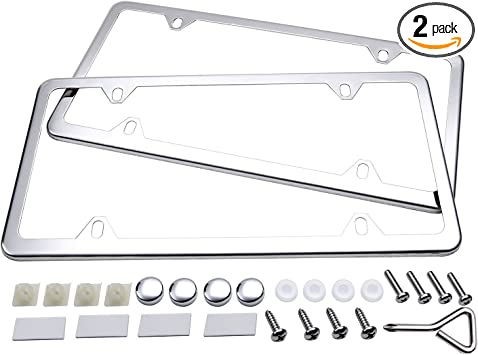 Plain Blue Metal License Plate Frame Kit Free Screw Caps with This Frame
