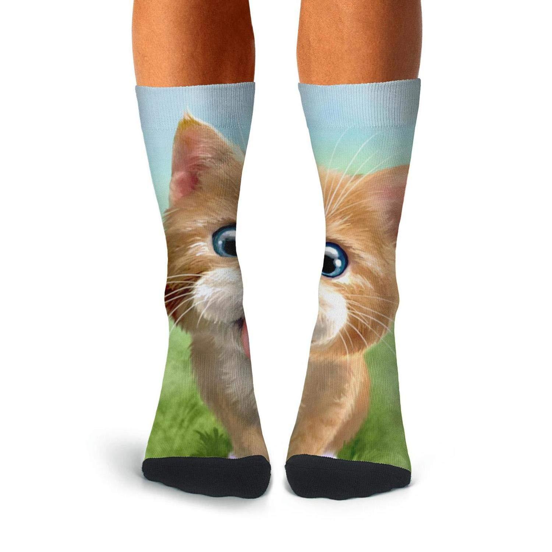 Knee High Long Stockings KCOSSH Cute Cat Crazy Calf Socks Casual Crew Sock For Men