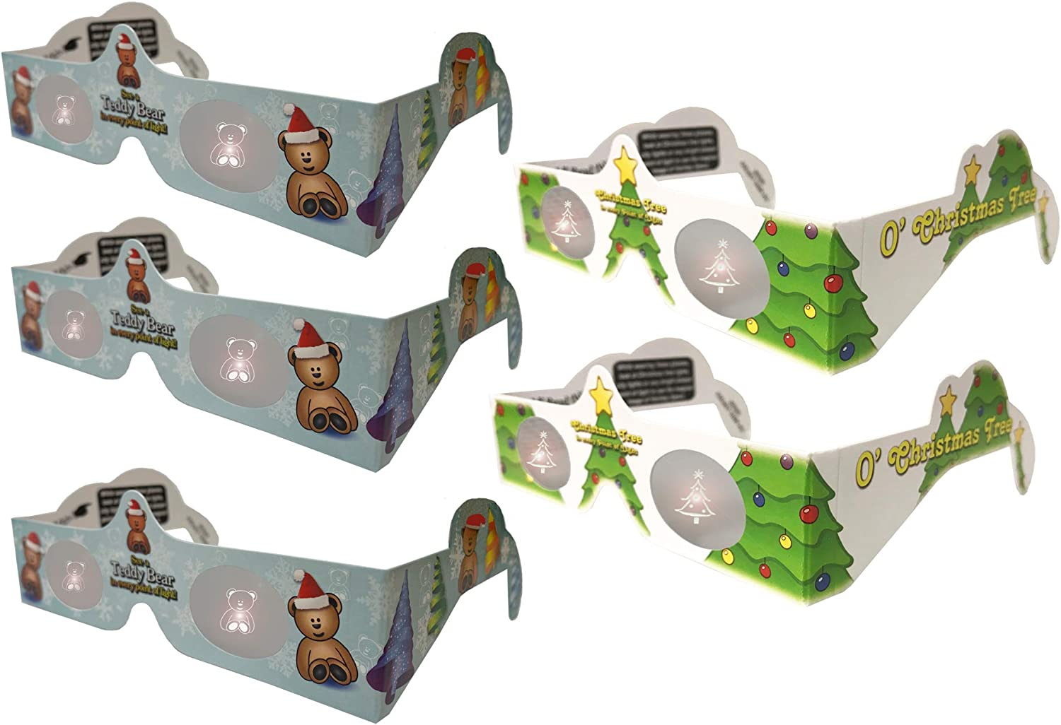 5 Pairs Glasses Teddy Bear and Tree 3D Christmas Glasses Holiday Eyes 5 Pairs Transform Christmas Lights Into Magical Images