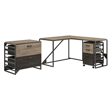 Bush Furniture Refinery 50W L Shaped Industrial Desk With 37W Return And  File Cabinets In Rustic