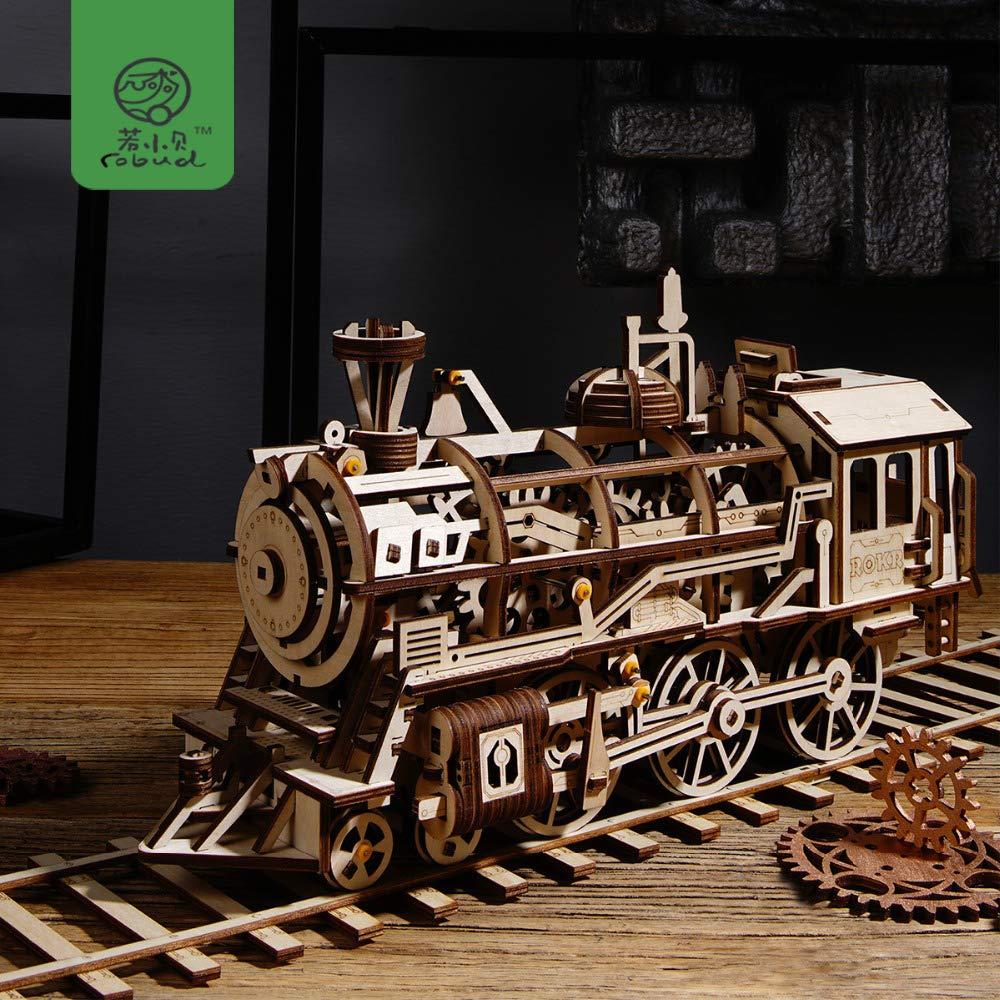 ptk12 Model Building Kits - DIY Movable Locomotive by Clockwork Wooden Model Building Kits Assembly Toys Hobbies Gift for Children,Teens,Adult LK701 1 PCs