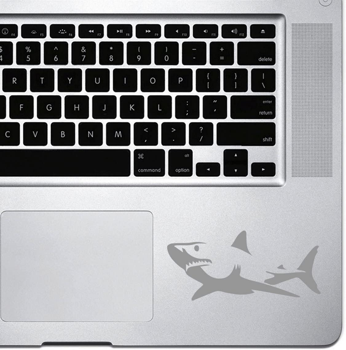 StickAny Palm Series Great White Shark Sticker for MacBook Pro, Chromebook, and Laptops (Silver)