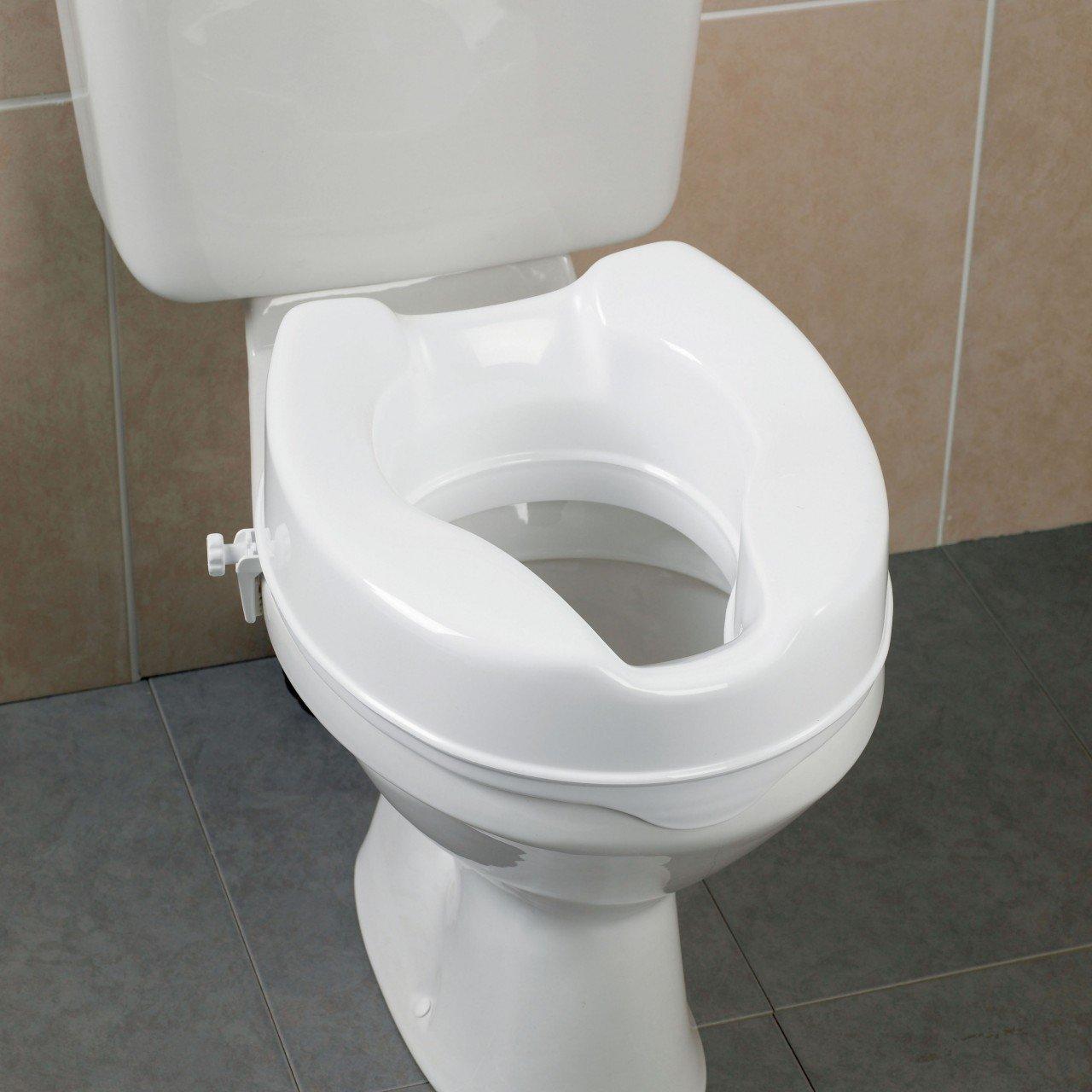 Amazon.com: Raised Toilet Seat by HEALTHLINE, Elevated Hinged Toilet ...