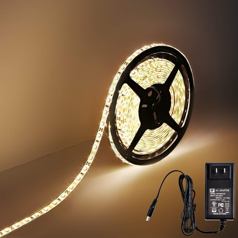 Hykolity Waterproof Flexible DIY LED Strip Lights, 16.4FT 300 Units 2835 LED,3000K 12v CRI80 led tape light, with UL listed power supply&sticky 3M tape for Home/Kitchen/Garden/Background/Cove