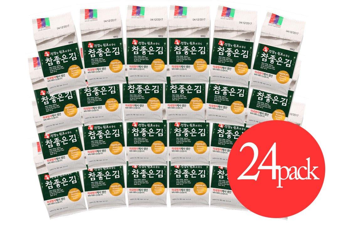 Myungga Premium Charm Seasoned Seaweed snack, Lunch Pack size (Pack of 24)