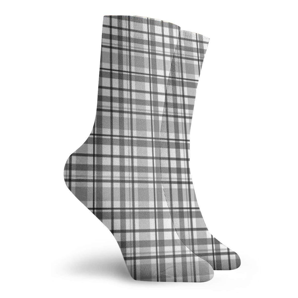 Gray Plaid Unisex Funny Casual Crew Socks Athletic Socks For Boys Girls Kids Teenagers