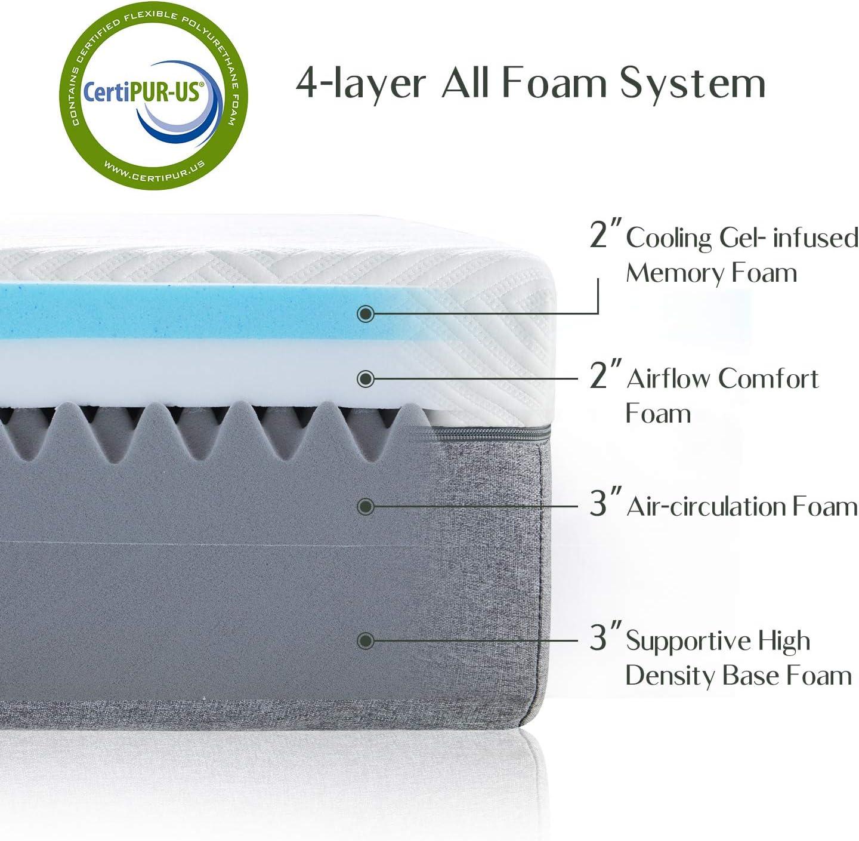 Novilla 10 inch Gel Memory Foam Queen Size Mattress