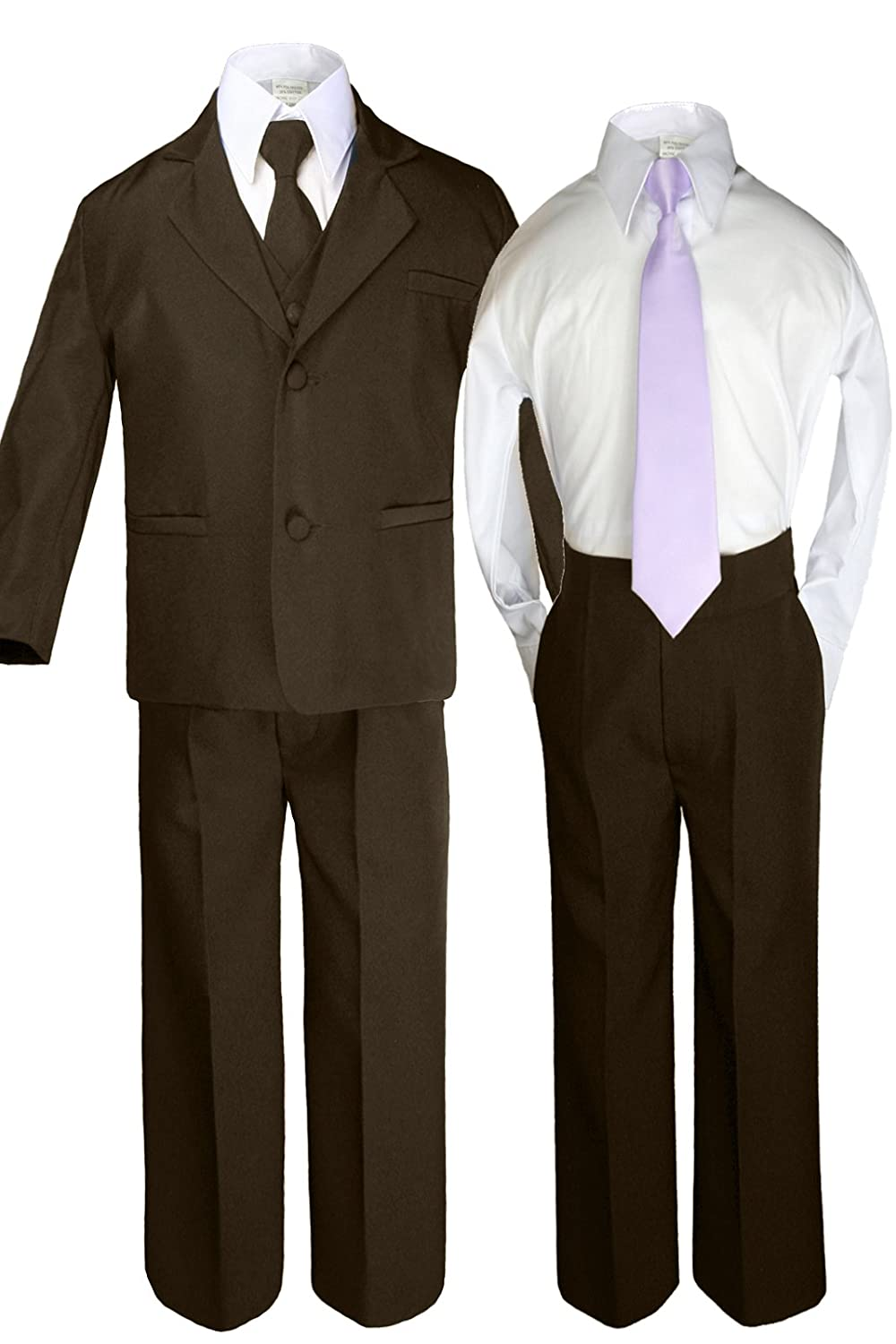Unotux 6pc Boys Dark Brown Suits Sets with Satin Lilac Necktie Outfits All Size