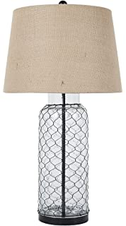 Chicken wire table lamp with transparent glass base amazon signature design by ashley l430114 transparent glass table lamp greentooth Choice Image