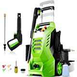 Pressure Washer 2300PSI NUSIIRO Electric Power Washer 2.1GPM High Powerful 1800W with 4 Nozzles, Big Bottle, Retractable Hand