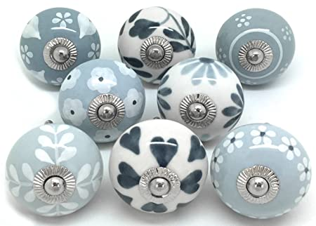 Set of 8 Grey & White Ceramic Door Knobs by These Please S8-16 ...