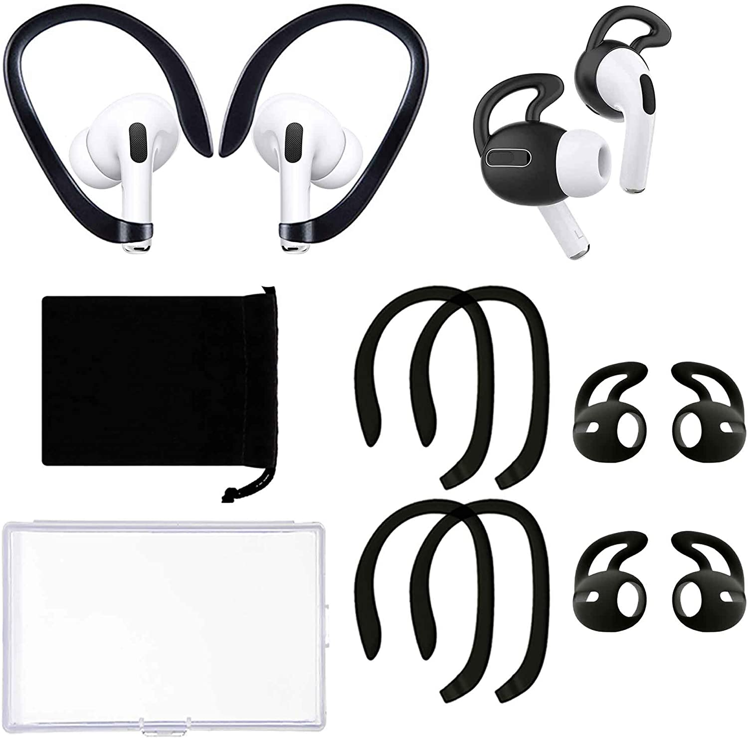 2 Pairs Ear Hooks 2 Pairs Ear Covers Compatible with Apple AirPods Pro, Anti-Slip Anti-Drop Ear Covers AirPods Accessories for Running, Cycling and Other Indoor-Outdoor Activities (Black)