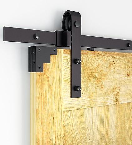 DIYHD 8ft Rustic Black Bent Straight Sliding Barn Wood Closet Door Interior  Door Sliding Track Hardware