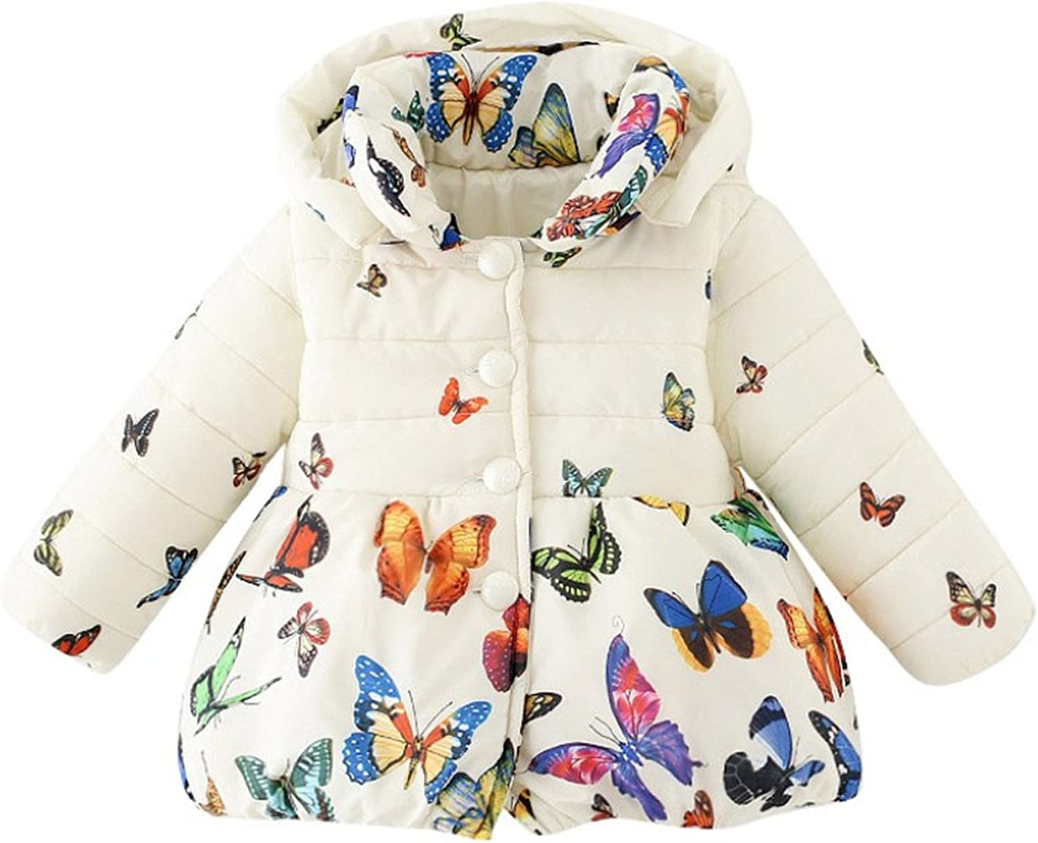 Meetloveyou Winter Baby Girls Hooded Coat Down Button Sweatshirt Kids Fashion Cartoon Butterfly Printed Jacket Outfit