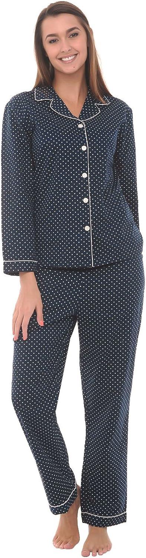 1940s Sleepwear: Nightgowns, Pajamas, Robes, Bed Jackets Alexander Del Rossa Womens Lightweight Button Down Pajama Set Long Cotton Pjs $25.99 AT vintagedancer.com
