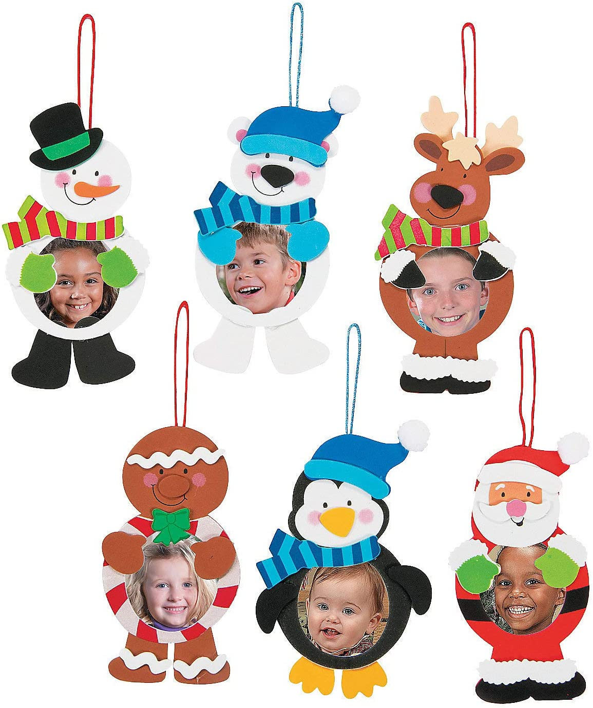 Fun Express Foam 12 Pieces Round Christmas Charac ORN CK- 12 for Christmas Craft Kits Christmas Ornament Craft Kits