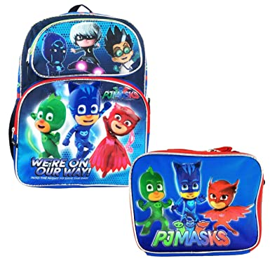 "PJ Masks Backpack 12"" Boys Book bag Catboy Owlette Gekko School w/lunch bag"