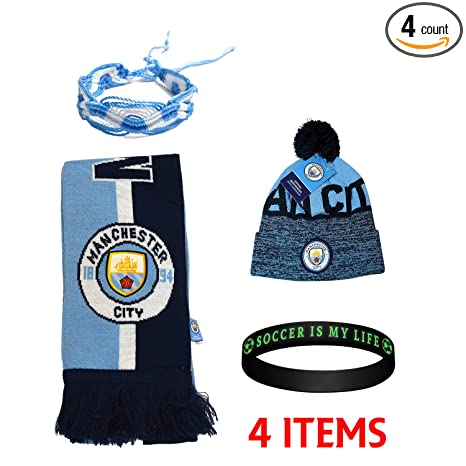 17efea09e2b Image Unavailable. Image not available for. Color  Manchester City Set  Beanie Skull Cap Hat and Scarf Reversible ...