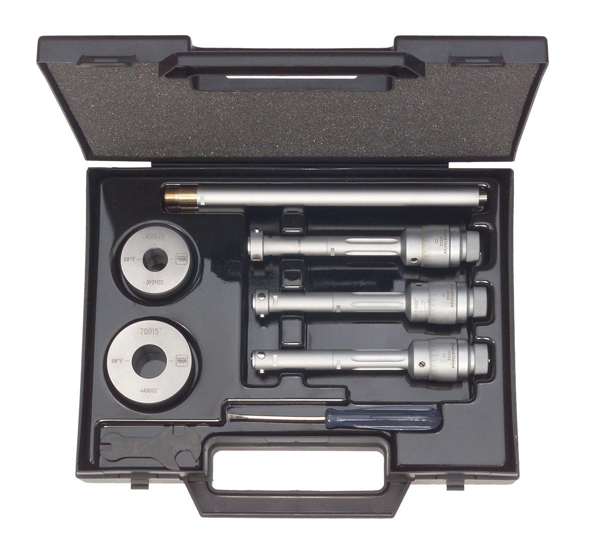 6 Piece Set Brown /& Sharpe 00880400 Intrimik Analog Inside Micrometer Set 0.0002 Graduation +//-0.00016 Accuracy 0.5-0.8 Range